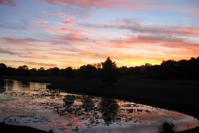 Sunset from the golf course next to where we were staying