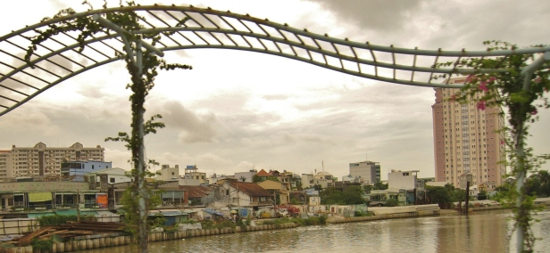 Trellis above a bridge in Saigon