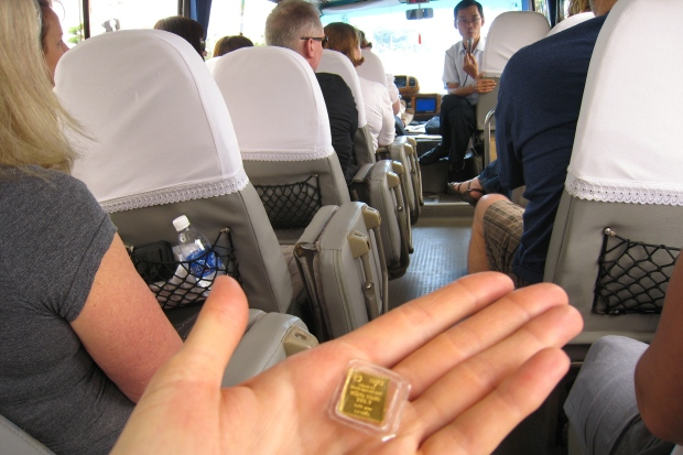 The guide described that many Vietnamese do not use banks and it is common to buy these little units of gold