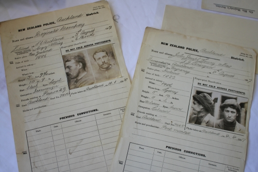 In one of the large rooms a few displays included a table of old criminal records. These two chaps were 'gaoled' in 1907 in Auckland, one for forgery & altering, the other for vagrancy