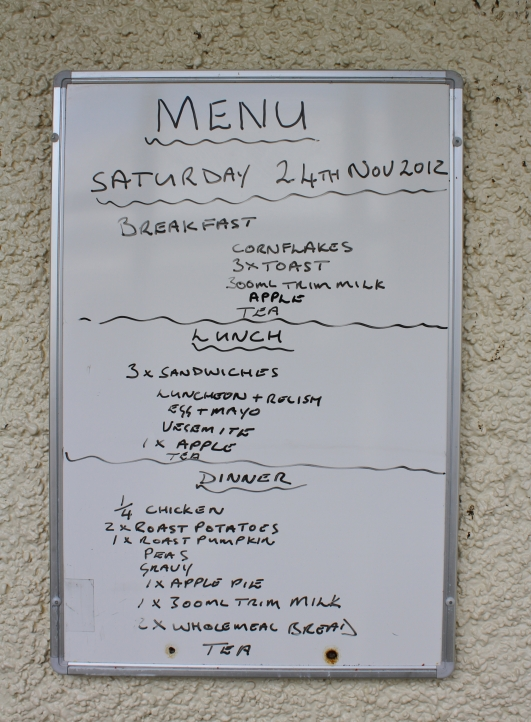 One of the last menus before the remaining prisoners were relocated