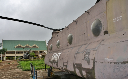 The museum building and a Chinook