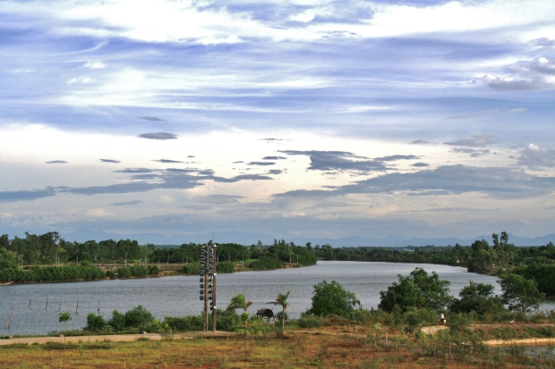 Looking west along the Ben Hai River. The stack of loudspeakers was one of several used to broadcast propaganda to the south