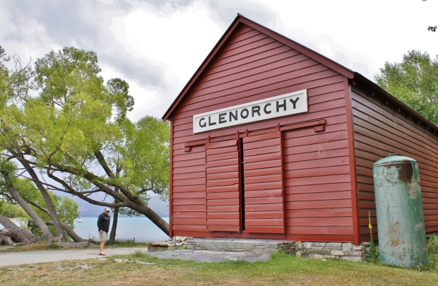 Until the road opened in 1962 the only way to Glenorchy was by water, arriving at this old wharf shed