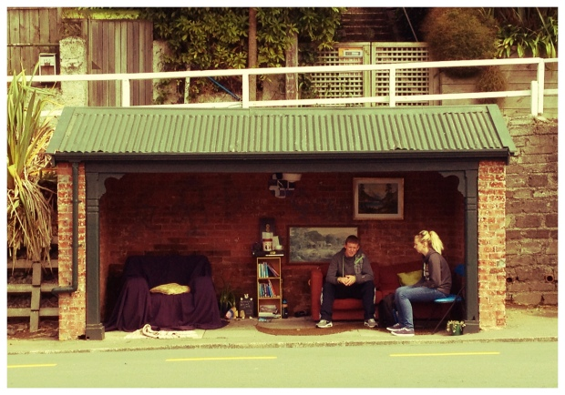Decorated bus shelter, Karori, Wellington