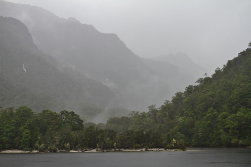 Visibility was poor but it produced dramatic views of a different kind into Fiordland National Park