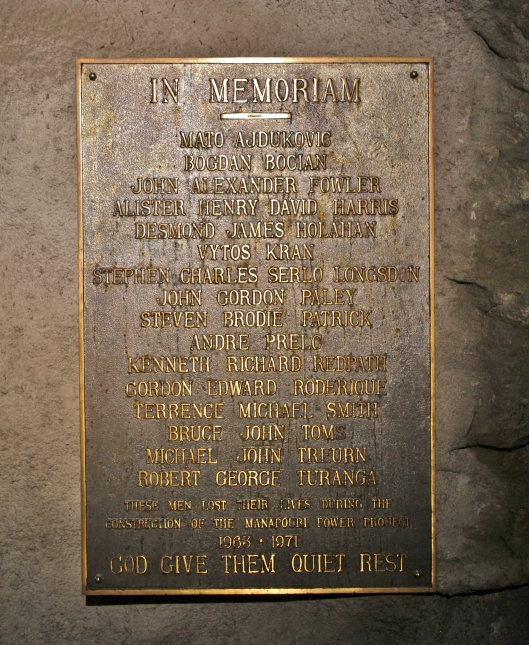 Memorial to those who perished during the construction of the power station