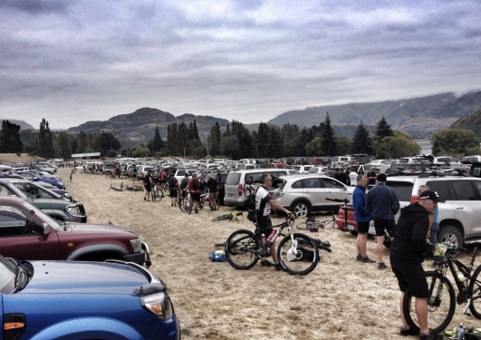 Rows and rows of cars and bikes. Eventually Mike and others arrived - most importantly, they were bearing coffee