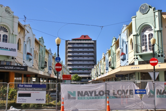 Christchurch's first street mall, New Regent Street, escaped relatively unscathed and is meant to be reopening soon. It was built during the Depression and has distinctive pastel-coloured Spanish Mission style architecture. Note the clock in the top right corner - stopped at 12.51pm, the time the earthquake struck
