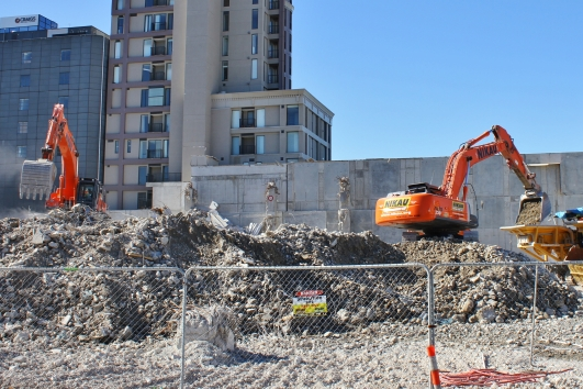 Breaking up rubble, Christchurch