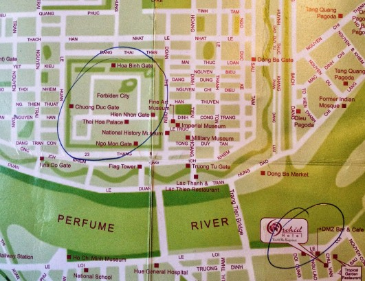 The map I used showing relative locations of the citadel and my hotel
