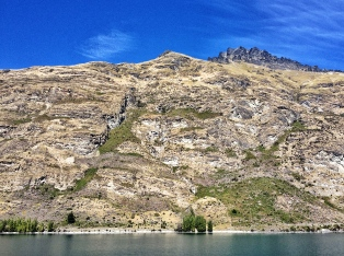 Close up view of Cecil Peak, one of the prominent hills around Lake Wakatipu seen from Queenstown