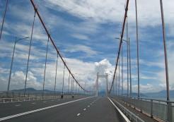 Crossing Thuan Phuoc Bridge, the longest suspension bridge in Vietnam