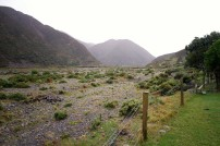 From in front of the cottage you get a glimpse of how the Orongorongo Valley must be when the river is in full flood