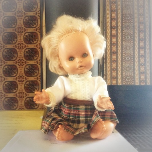 My old doll Tammy (missing a row or two of hair due to a classic maim-doll-with-scissors incident)