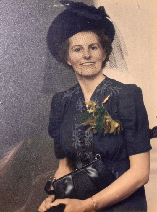 Gran on her wedding day in 1943. Her dress is still around and in great condition - I tried it on, at Mum's insistence!, and it kind of just fitted but I ain't the little thing that Gran was!