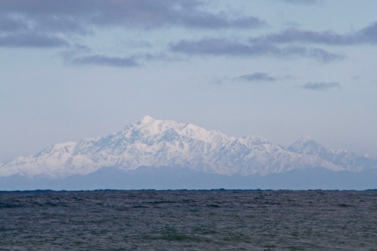 Looking across to the top of the South Island (yes it would seem they did have a bit of snow)