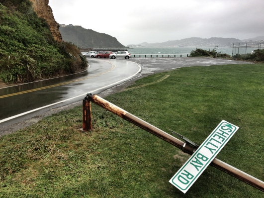 Busted sign, Shelly Bay Rd
