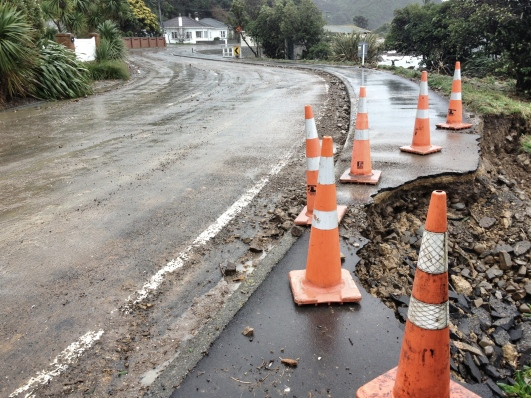 Road post-storm, Karaka Bay