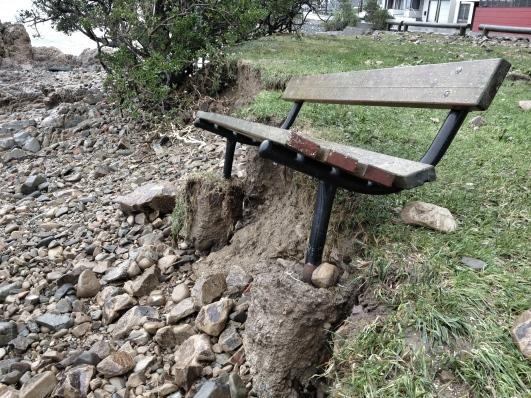Bench seat post-storm, Karaka Bay