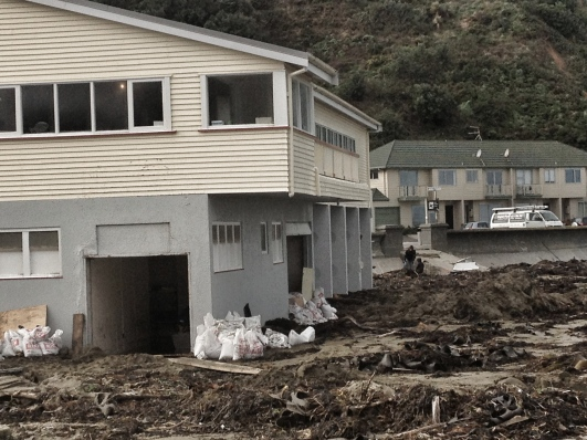 Sand bags were used at the Island Bay Surf Club