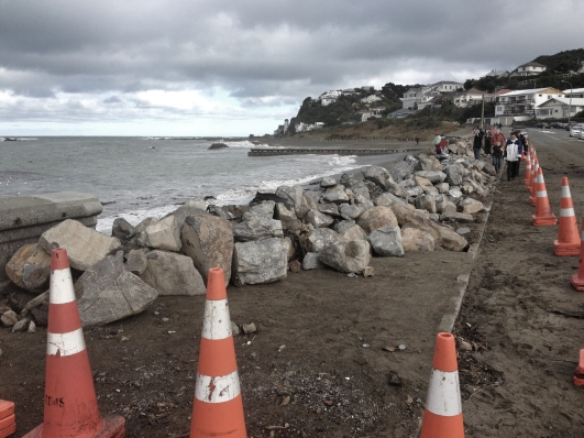 A big chunk of the sea wall at Island Bay was destroyed