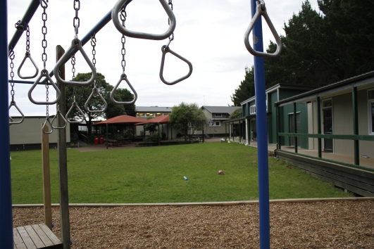 A modern 'safe' playground has replaced the old two-level wooden structure