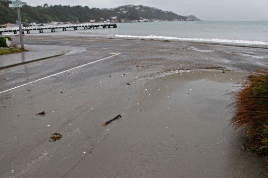 At Seatoun it's a bit hard to tell where the beach stops and the road starts