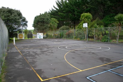 The tennis and netball court