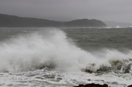 Breaker Bay was still getting a good lashing on Saturday