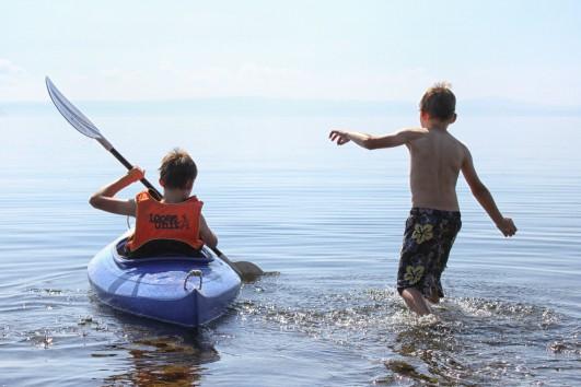 Boys in the lake