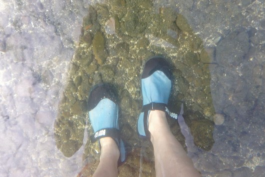Aqua boots are a must in this stony part of the lake - though it is kinda funny watching people do the tender foot shuffle