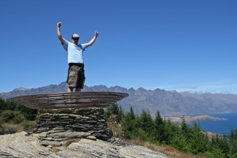 Victorious in the Basket of Dreams after a hard slog up Queenstown Hill