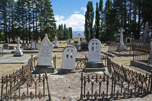 I wandered through Omakau Cemetery during our lunch stop. Given the gold mining history in Central Otago the headstones can often be interesting