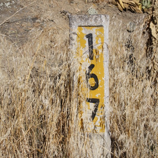 One of the old 'mile markers' except this is metric and is the distance in kms from the depot just outside Dunedin