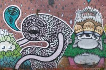Wigan St, part of a larger mural by Ghstie, Drypnz, Mica Still