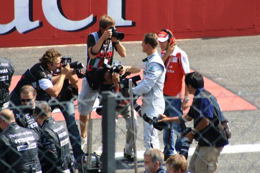 Among the stuff going on in front of us was a media scrum around Michael Schumacher