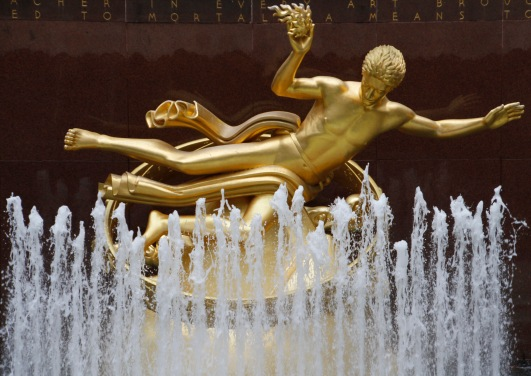 Golden fountain, Rockefeller Centre