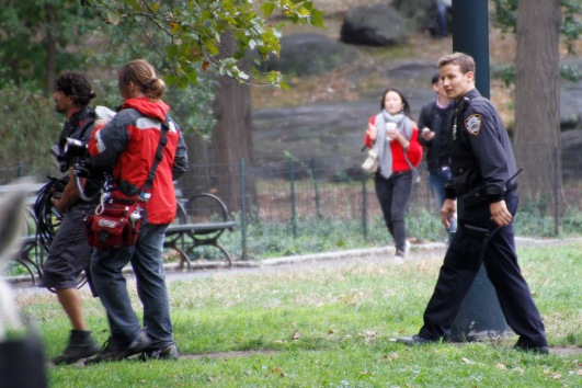 Filming in progress in Central Park for Blue Bloods, a TV series we follow back home