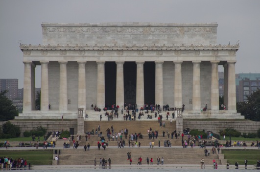 Abe Lincoln memorial from the WWII memorial. Normally you'd try to get the reflecting pool as well, except the end is being renovated and was fenced off