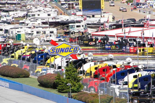 The infield was already pretty full of garages, transporters and RVs but will be chocka come Sunday