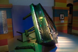 One of Fats Domino's pianos in the main foyer of The Presbytere, in the same position it was discovered in his house in the worst flooded area of the city