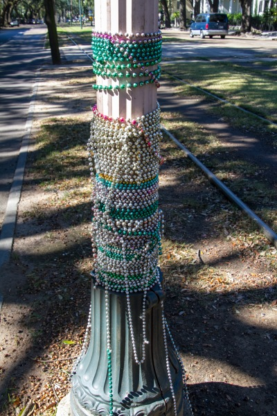 Mardi gras beads are strewn up in every tree around here it seems, and around the occasional lamp post
