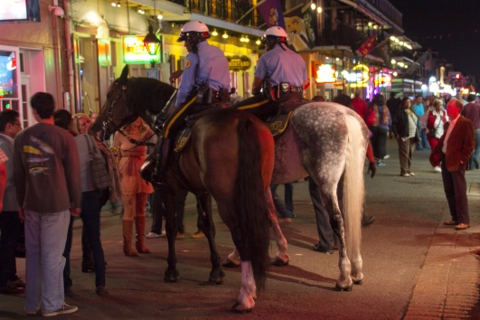 There was a modest police presence in Bourbon St tonight, including this interesting sight