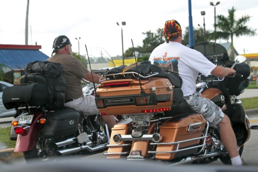 In 2000, helmet-wearing by motorcyclists in Florida became optional and on this day we didn't see any