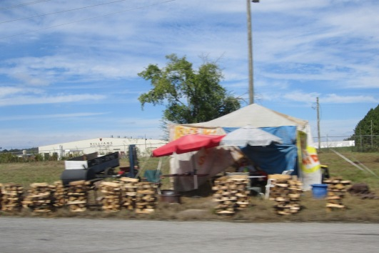 One of many stalls along the main boulevard selling firewood for those people camping / campervanning