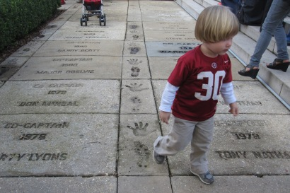 Around the bell tower is the Alabama football captains' walk of fame, dating back to 1940s and updated each year
