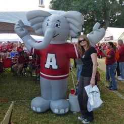 A blow-up version of Big Al the elephant (I'm referring to the grey guy in the maroon shirt, in case there's any confusion), the Alabama team's mascot