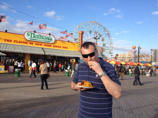 Mike fulfilling one of his Coney Island goals - to have a Nathan's hot dog. They weren't anything special though and the service was sooo slow