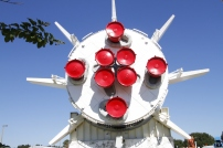 The rear of a Saturn 1B rocket in the Rocket Garden